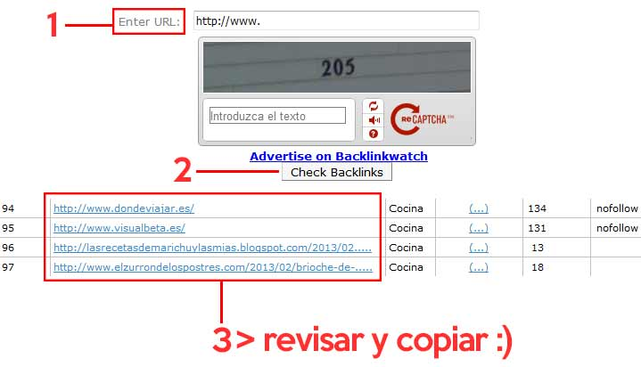 Como copiar enlaces con Backlink Watch