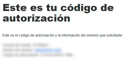Código de autorización de GoDaddy