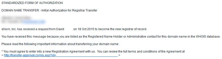 Autorizar oficialmente la transferencia de un dominio