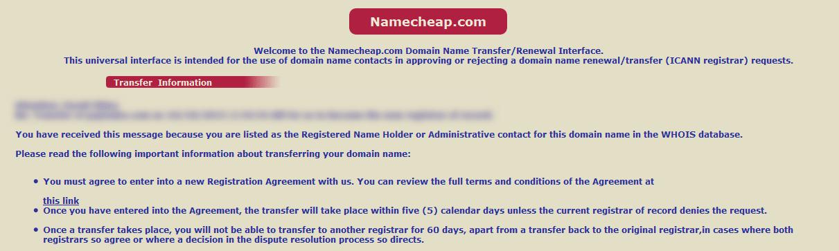 Verificar la transferencia del dominio
