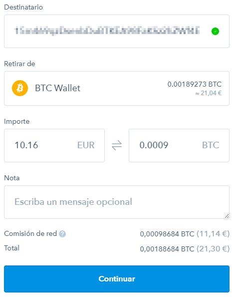 como transferir bitcoins desde coinbase